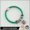 Fashion handmade woven chain blue cheap silicone custom crystal jewelry energy bracelet