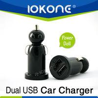 Dual usb car charger with twin socket doll car jack socket