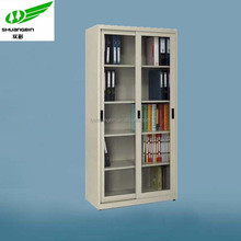 Wholesale steel glass door key cabinet cupboard with 4 adjustable shelf/Modern small office steel book cupboard locker