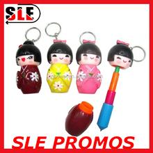 Cute Mini Japanese Geisha Shape Ball Pen 6.5 cm-13 cm Retractable Pens With Key Ring