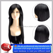 Kanekalon synthetic long natural black color hair wigs, wholesale hair products hair net
