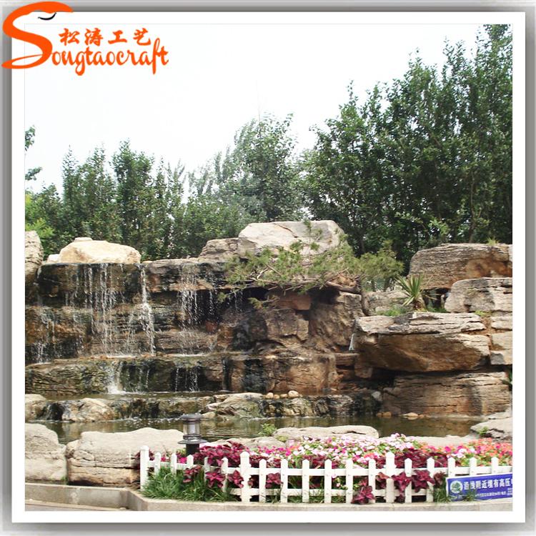 Fibra de vidrio y resina jard n fuente cascada piedra for Paredes de piedra para jardines