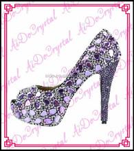 Aidocrystal fashion Italian purple crystal diamond bridal wedding jeweled heel shoes newest women high heels Ladies Pumps Shoes