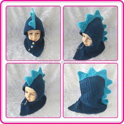 new arrival winter warm crochet dinosaur kids cowl hats