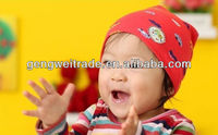 Cars Pattern Red Cotton Kids Knitted Hats