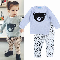 Children's Clothing Sets for boys Bear Head Cartoon Printed t shirt+ Spot pants baby girl clothes vestidos toddler girl clothing