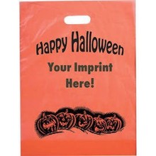 "wholesale cb-296 Custom Logo12""W x 15""H x 3""gusset Frosted Orange Halloween Bag shopping bag carrier bag die cut"