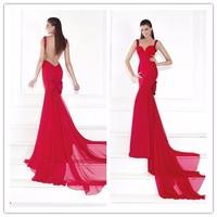 Big size Red Chiffon Sweetheart Mermaid Long evening dress vestido de noite(YASA-817)