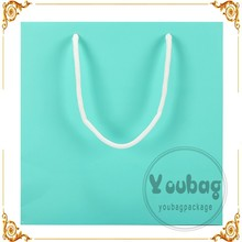 Top sale luxury light blue recycle paper bag, paper bag price wholesale for wedding