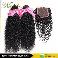 Virgin Indian Hair Wholesale Blonde Hair Bundles With Lace Closure