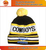 knitted sports team custom beanie with poms poms