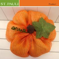 Fresh orange color new item mesh fabric thanksgiving day pumpkin craft