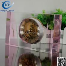 2015 3D office new crystal clock for gift ,HongYu Brand