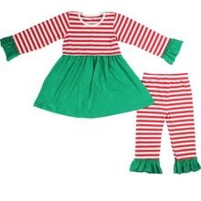 2015 kaiyo girl dress striped ruffle pant sets girls christmas dresses children clothes