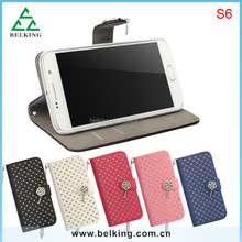 2015 for samsung S6 full diamond leather case with long chain