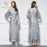 2015 wholesale embroidery long sleeve ankle length evening dinner dress