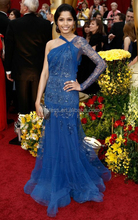 Latest Designs Royal Blue Prom Dress One Shoulder Appliques Celebrity Party Dresses Fashionable vestidos longos para formatura
