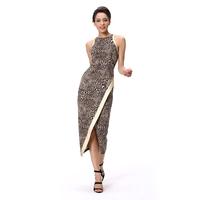 2015 Fashion Dress Alibaba Elegant Leopard Printed Front Open Sexy Alibaba Dress