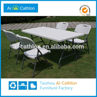 Costco furniture plastic outdoor folding dining table and chair set
