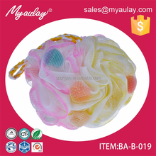 2015 china wholesale Pink and Yellow colourful Sponge particles fine mesh Clean bath Sponge BA-B-019