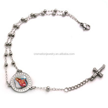 Top Selling Stylish Catholic Prayer Jewelry Stainless Steel Rosary Beads Chain Bracelets With Our Father Jesus Cross Pendant