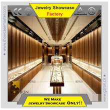 Fancy modern corner design glass jewelry display showcase for jewelry shop