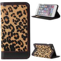 Leopard Pattern Genuine Leather Wallet Flip Phone Case for iPhone 6