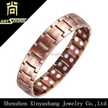 Double lines copper fashion v care magnetic bracelet