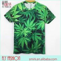 DK065 # 2014 Fashion Full Body Printed Marijuana Leaf 3D Printed T-shirt Green Big Leaf T-shirt