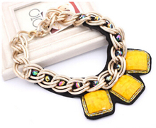 Exaggerated Double Chunky Necklace Elegant Pendant Geometric Squares Statement Jewelry