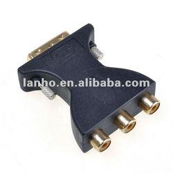 DVI 18 + 5 M Male to 3 RCA Female M to FM Adapter Converter