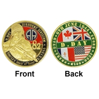 Wholesale Double Coin American's Guard of Honor coin, Airbone Division D.Day Gold Plated Coin High Quality Challenge Coin