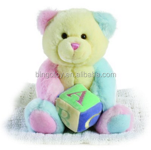 Stuffed animal plush toys colorful teddy bear plush toys with plush dice