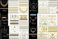 la más nueva venta caliente lámina de oro metálico temporal tatuajes tatuajes del cuerpo de la joyería del oro / plata
