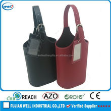 Eco-friendly PU leather leather wine bottle carrier manufacturer