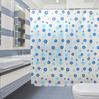 Roller Printing Simple flower design fabric home goods polyester trendy shower curtain set bath accessories