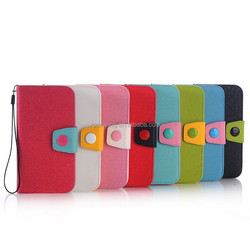 Wallet PU case pouch for Samsung Galaxy S6, Button design leather case for Galaxy S6 G920