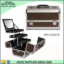 Cut portable leather cosmetic cases for packing
