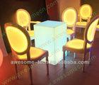 led cubo perspex mesa e cadeiras
