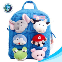Custom various mini cute animal puppet toy plush stuffed animal toy school bag blue kids plush bag