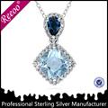 Grande de la venta con encanto colgante , collar, Azul pendiente de la plata del encanto de la joyería