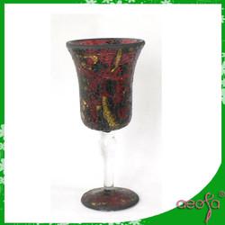 red+black+golden dot crackle mirror mosaic glass vase