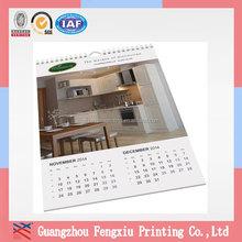 Custom Print Large Size 2015 Decorative Paper Wall Calendar