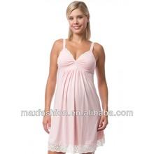 Loto de encaje de color rosa de enfermería / camisón de maternidad, Ropa las mujeres atractivas para el saco de dormir