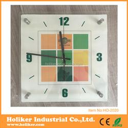 Classic design quartz home decoration glass wall clock customized wall art decor clock