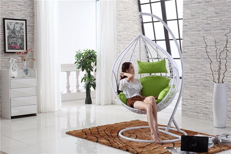 New white foto furniure rattan de vime cadeira de balanço ao ar livre indoor pendurado ovo com cabide estande jardim para casa de ferro decorativo