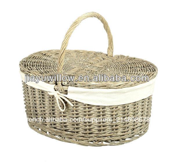 Panier En Osier Rectangulaire Avec Couvercle : Pe paniers pique nique en osier avec couvercle panier