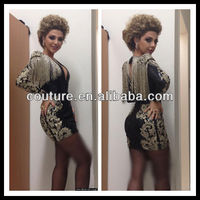 Celebrity dress Arabia Singer Myriam Fares Tankinis spark beaded short evening dress TM633 arabic night dress