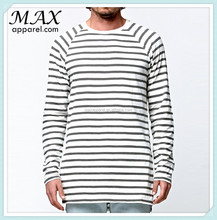 Mens contrast stripes t shirt fashion long sleeves t shirt wholesales black and white stripe t-shirt