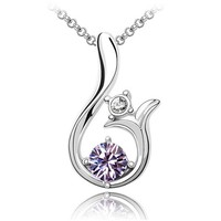 Fashion 18K White Gold Plated Authentic Austrian Crystal Necklace